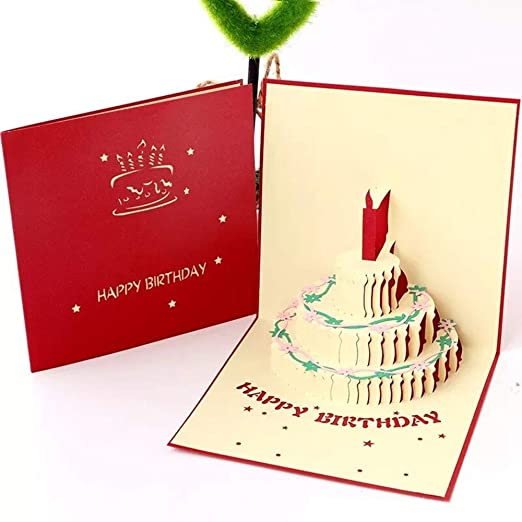 Tarjeta de Cumpleaños 3D,Tarjetas de felicitación Cumpleaños,Tarjeta de felicitación emergente 3D,sobre Incluido (Rojo)