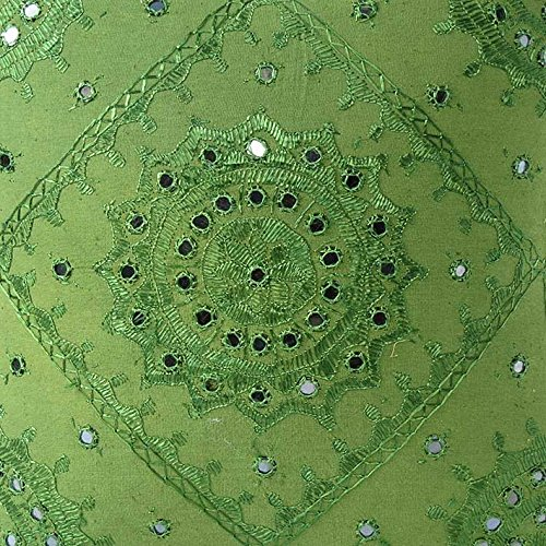 Eyes of India - 16'' Green Mirror Embroidered Pillow Colorful Decorative Cushion Cover Throw Sofa Couch Bohemian Indian Boho SeatingCover Only
