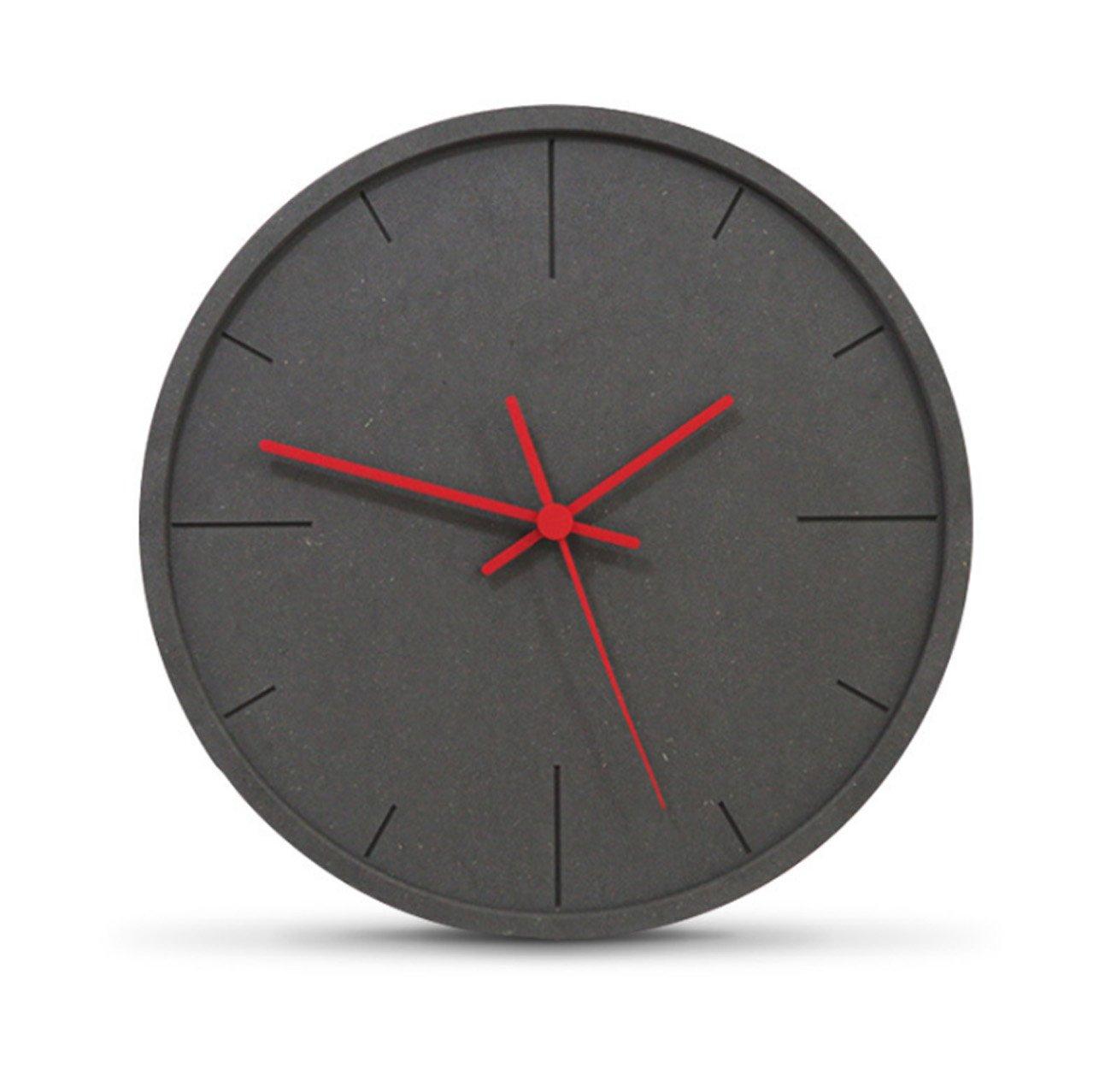 クロック パーソナリティシンプルな石英の壁時計、非点滅静かな木製の掛かる時計モダンなリビングルームベッドルームの壁の装飾時計(29.5 * 29.5センチメートル) ウォールオーナメント (色 : 赤) B07DYFX7Y5赤