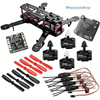 powerday DIY QAV250 ZMR250 Quadcopter Full Carbon Frame Kit &Emax MT2204 2300KV Motor &Simonk 12A ESC &NAZE32 6DOF Flight Controller&Matek Power Hub&5045 2-blade propeller&Spare Parts pack