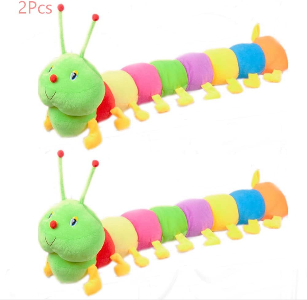 Sealive 2 Pcs Colorful Caterpillar Plush Toy, Long Stuffed Animal Caterpillar Pillow for Kids Adults, Cute Rainbow Caterpillar Puppy Dog Cat Pet Toys