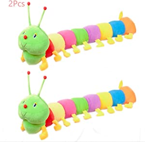 Sealive 2 Pcs Colorful Caterpillar Plush Toy, Long Stuffed Animal Caterpillar Pillow for Kids Adults, Cute Rainbow Caterpillar Puppy Dog Cat Pet Toys