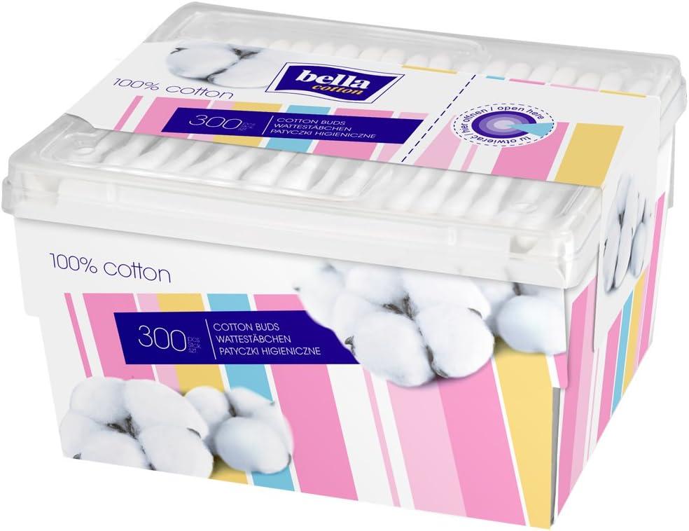Bella Cotton Wattest/äbchen Motiv-Box 3 x 300 St/ück 3er Pack
