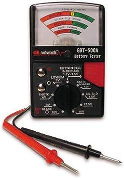 Gardner Bender GBT-500A Analog 1.5 V Button Cell/22.5 Photo/AA/AAA/12 V/9 V/Lantern Cells & More, Leads Battery Tester, Black