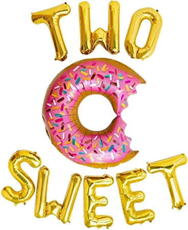 Beaumode Two Sweet Letter Balloons for Twins Birthday Doughnut 2nd Birthday Party Donut Theme Party Decor