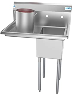 KoolMore 1 Compartment Stainless Steel NSF Commercial Kitchen Prep & Utility Sink with Drainboard - Bowl