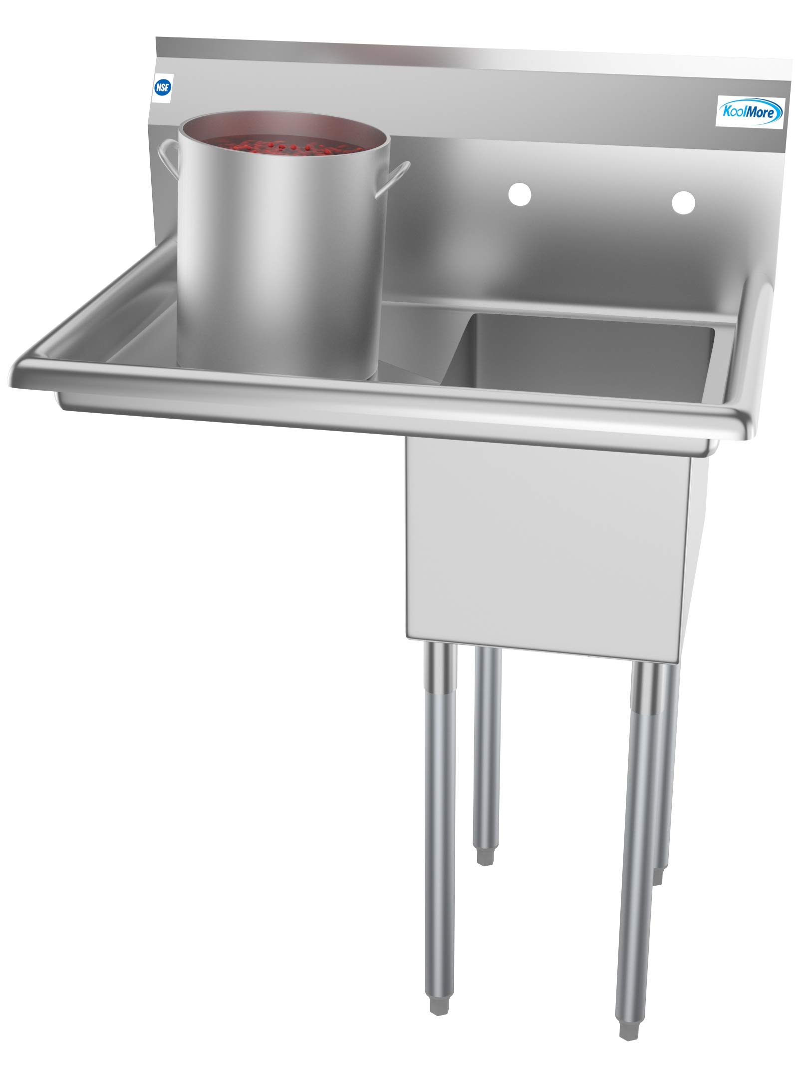 KoolMore 1 Compartment Stainless Steel NSF Commercial Kitchen Prep & Utility Sink with Drainboard - Bowl Size 12'' x 16'' x 10''