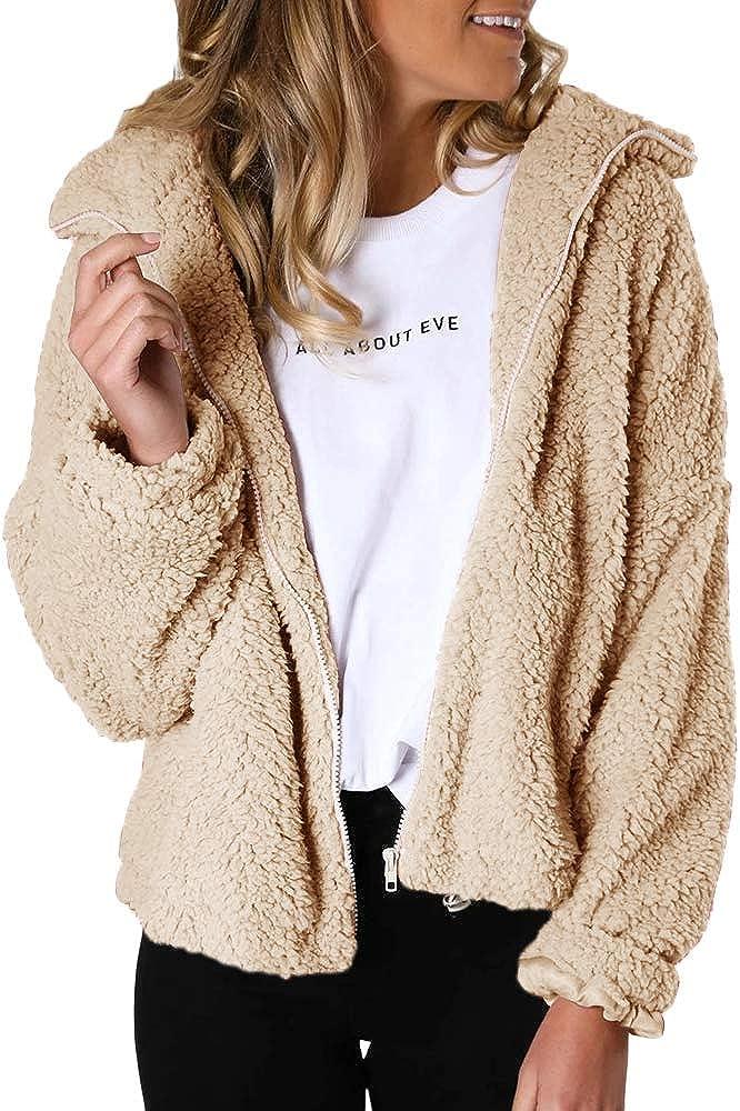 Niitawm Womens Fashion Long Easy-to-use Sleeve Zip Fur Faux Jackets Shear Louisville-Jefferson County Mall Up