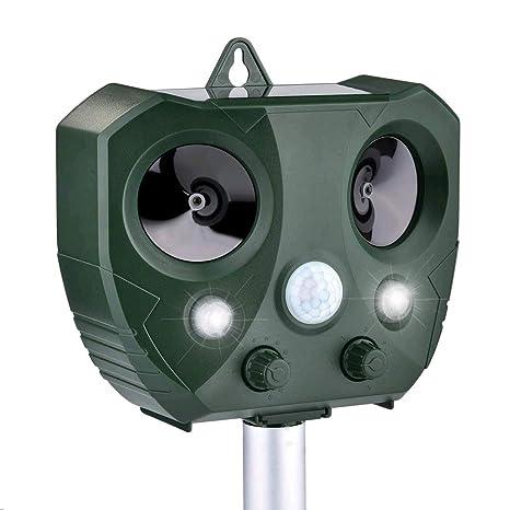 Sararoom Repelente para Gatos,Repelente ultrasónico para Animales,con LED,Carga Solar,