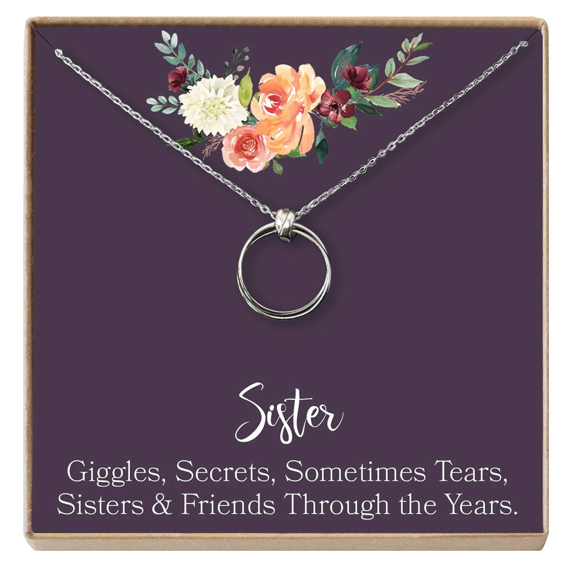 Dear Ava Sisters Gift Necklace Sister Birthday Gift Big Sister Gift 2 Linked Circles