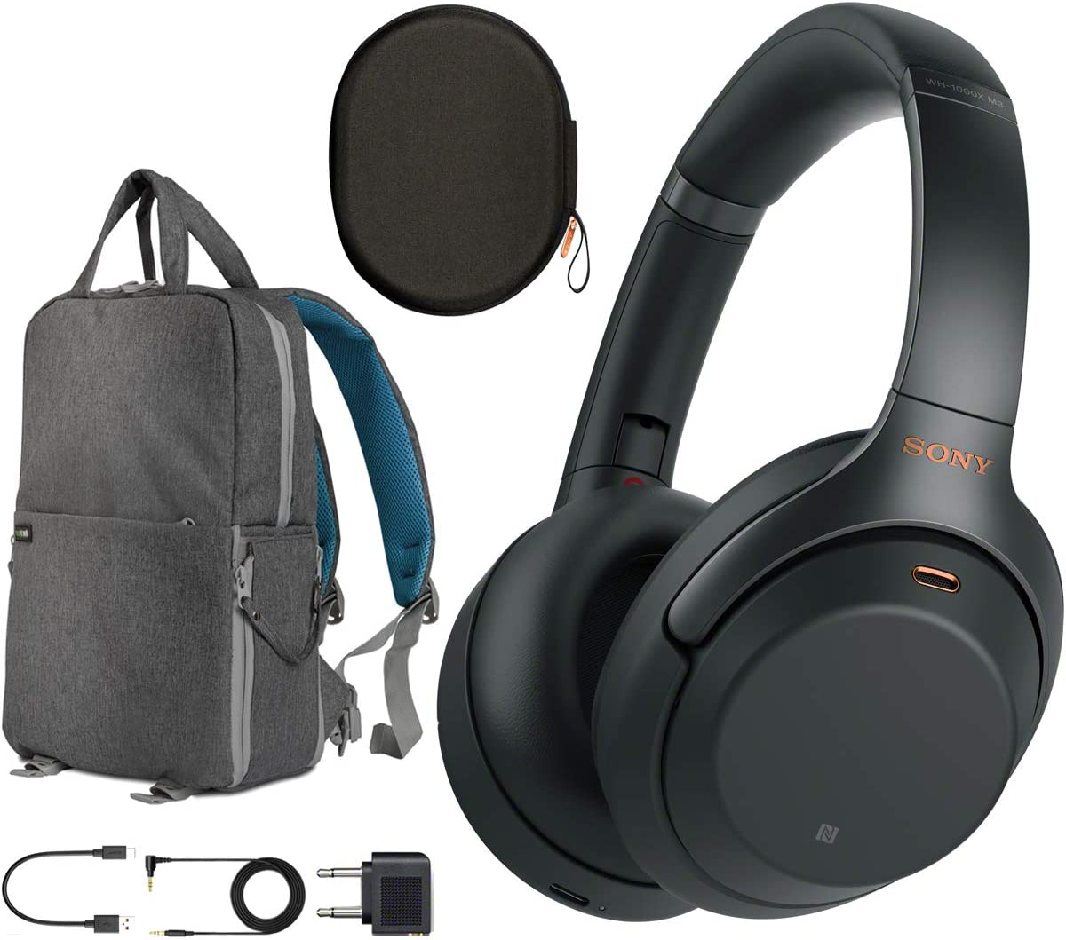 Sony WH1000XM3 Premium Noise Cancelling Wireless Bluetooth Headphones with Built in Microphone WH-1000XM3 B Black Commuter s Bundle with Deco Gear Travel Backpack with Gadget Compartment USB Port