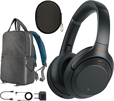 Amazon Com Sony Wh1000xm3 Premium Noise Cancelling Wireless Bluetooth Headphones With Built In Microphone Wh 1000xm3 B Black Commuter S Bundle With Deco Gear Travel Backpack With Gadget Compartment Usb Port Home Audio Theater