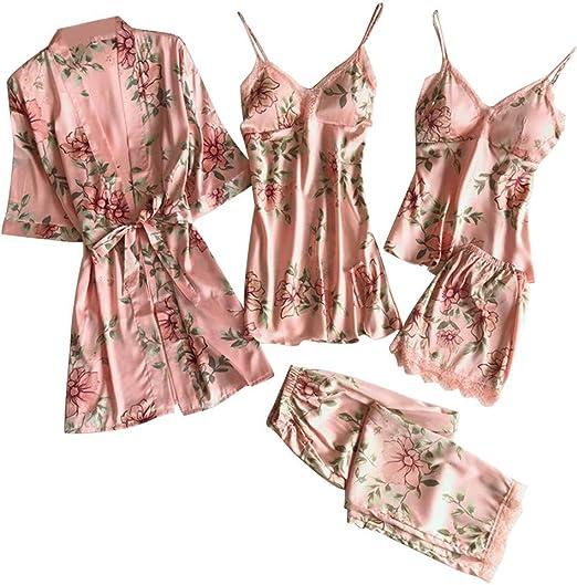 Pijamas de satén de encaje para mujer Kimono Albornoz Camisón Pantalones cortos Pantalones 5 piezas Conjunto Mujeres Lencería erótica sexy Ropa de ...