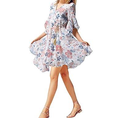 638ab83ceec Summer Dresses for Women Half Sleeve Ruffle V Neck A Line Floral Print  Flowy Pleated Lightweight