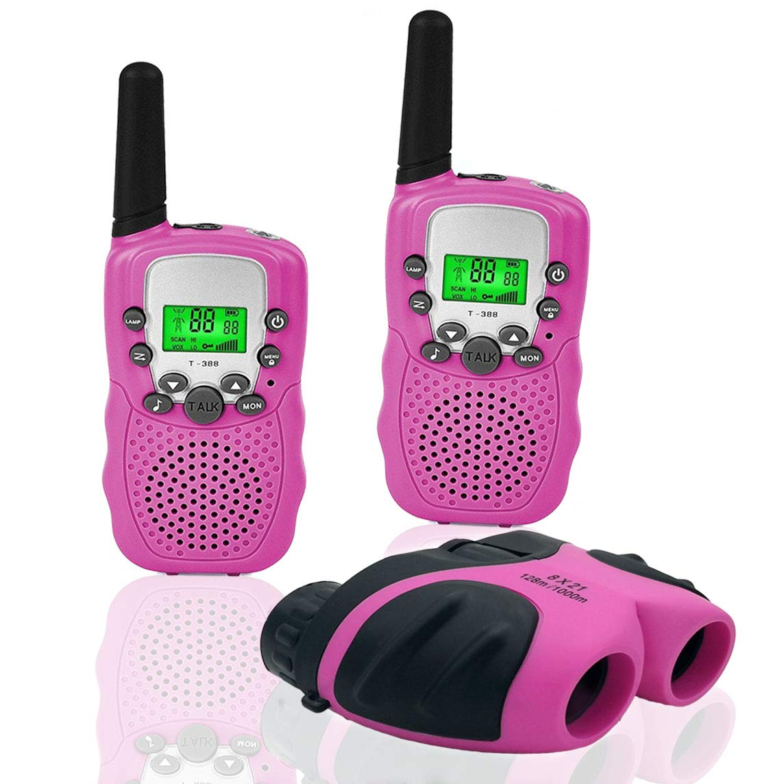JRD&BS WINL Outdoor Toys for 3-12 Year Old Boys, Walkie Talkies for Kids Toys for 3-12 Year Old Girls,Kids Binoulars for 4-9 Year Old Girl Birthday Gift ,1 Set(Pink)