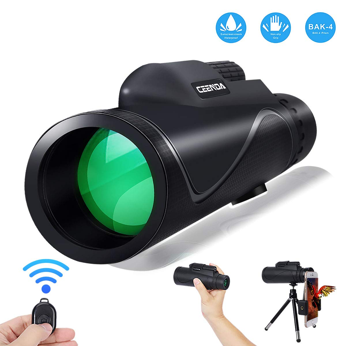 Monocular Telescope,12X50 High Power&HD Monocular with Universal Smartphone Holder and Wireless Remote Control-Waterproof Scope, BAK4 Prism for Bird Watching, Hunting, Surveillance, Hiking by Ceenda