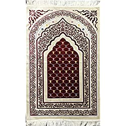 Islamic Prayer Mat Janamaz Sajjadah Muslim Turkish Sajda Velvet HB Scales (Red/ Ivory)