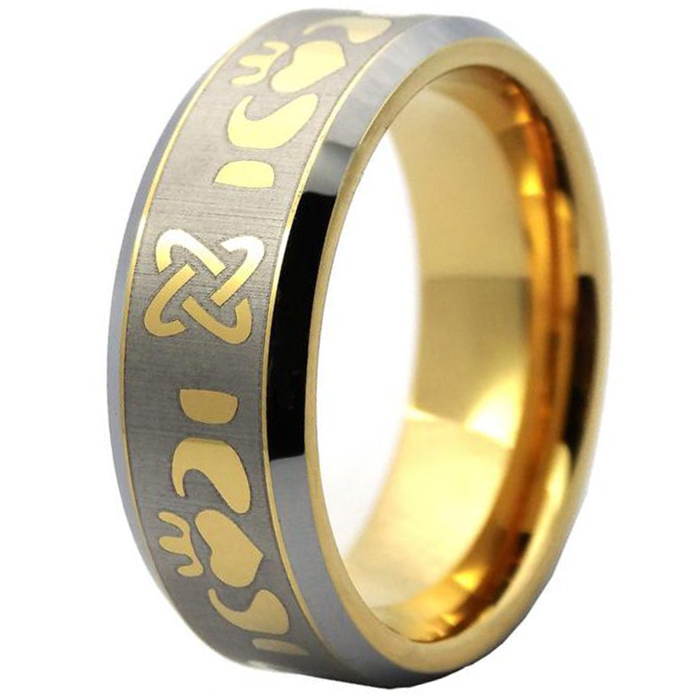 LAMUCH Men 8mm Tungsten Carbide Ring Simple Gold Plated Laser Pattern Couple Rings