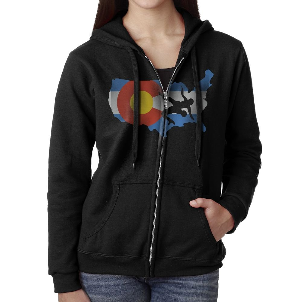 Colorado USA Wrestling Casual Womens,Women Full-Zip Sweatshirt Hoodie Jacket