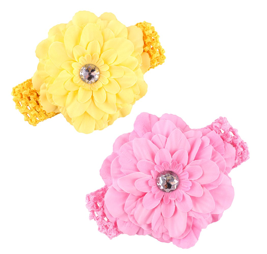 Perfect for Newborns//Toddlers Xiaoyu 5PCS Sweet Baby Girl Multicolor Roses Flower Headbands