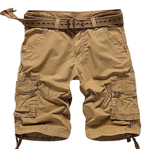MUST WAY Mne's Plus Size Cotton Summer Multi Pocket Casual Cargo Shorts 3636# Khaki 31 (Ripstop Bdu Shorts Combat Khaki)
