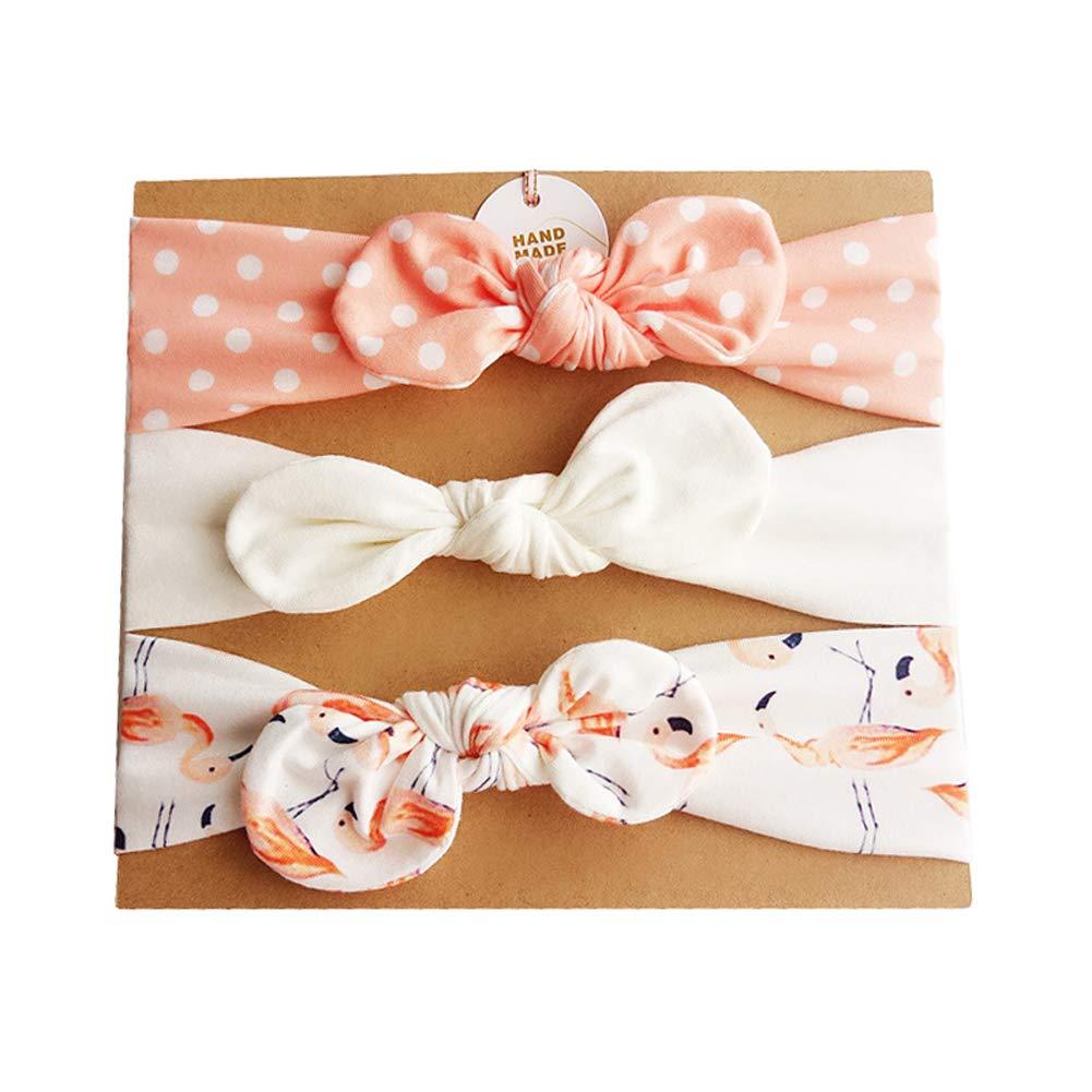 Bllatta baby Cotton headbands Girls Bowknot Hairband Cute Bow Christening Gifts Keepsakes Xmas-Present 3Pcs