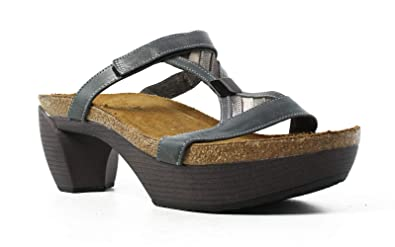 d551b9eb9daf Naot Footwear Women s Fusion Blue Slate Leather Silver Threads Platinum Leather  Sandal