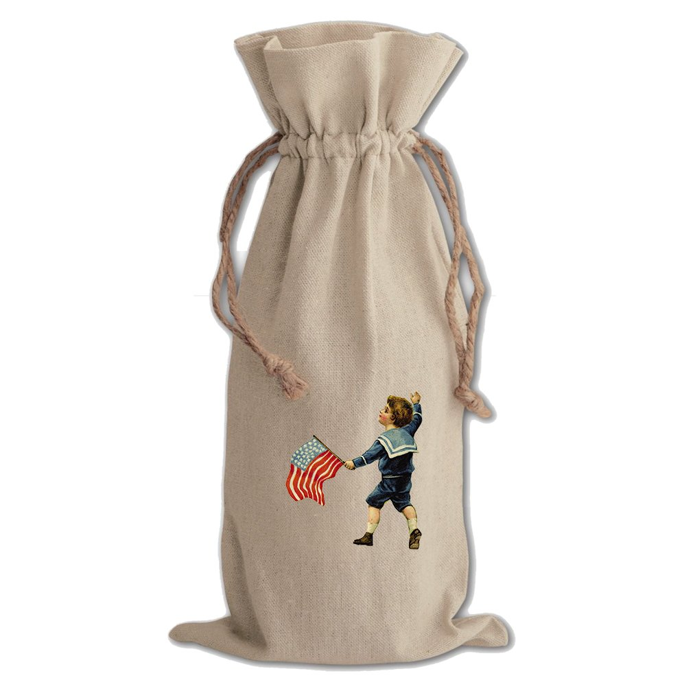 Canvas Wine Drawstring Bag Little Boy Holding America Flag Holidays