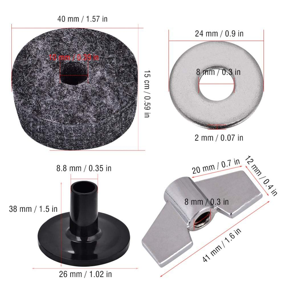 SOULONG Cymbal Washers Drum Felt Washer Pad Plastic Cymbal Stand Sleeve Replacement Parts Set with Base Wing Nuts