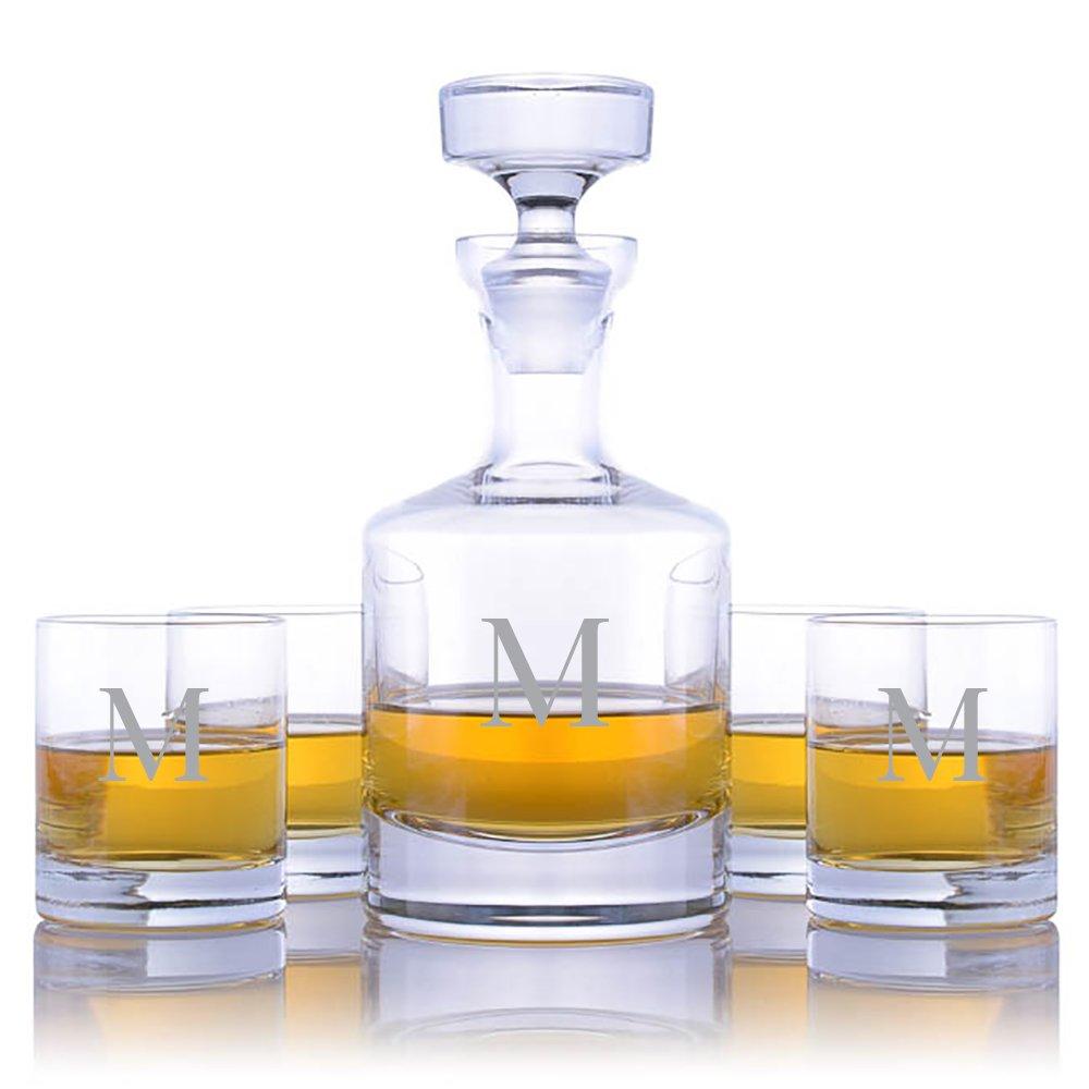 Personalized Ravenscroft Lead-free Crystal Buckingham Whiskey Liquor Decanter & 4 Rocks Glasses Engraved & Monogrammed - Retirement Gift - Great Home Bar Addition (Custom 5 Piece Rocks Set)