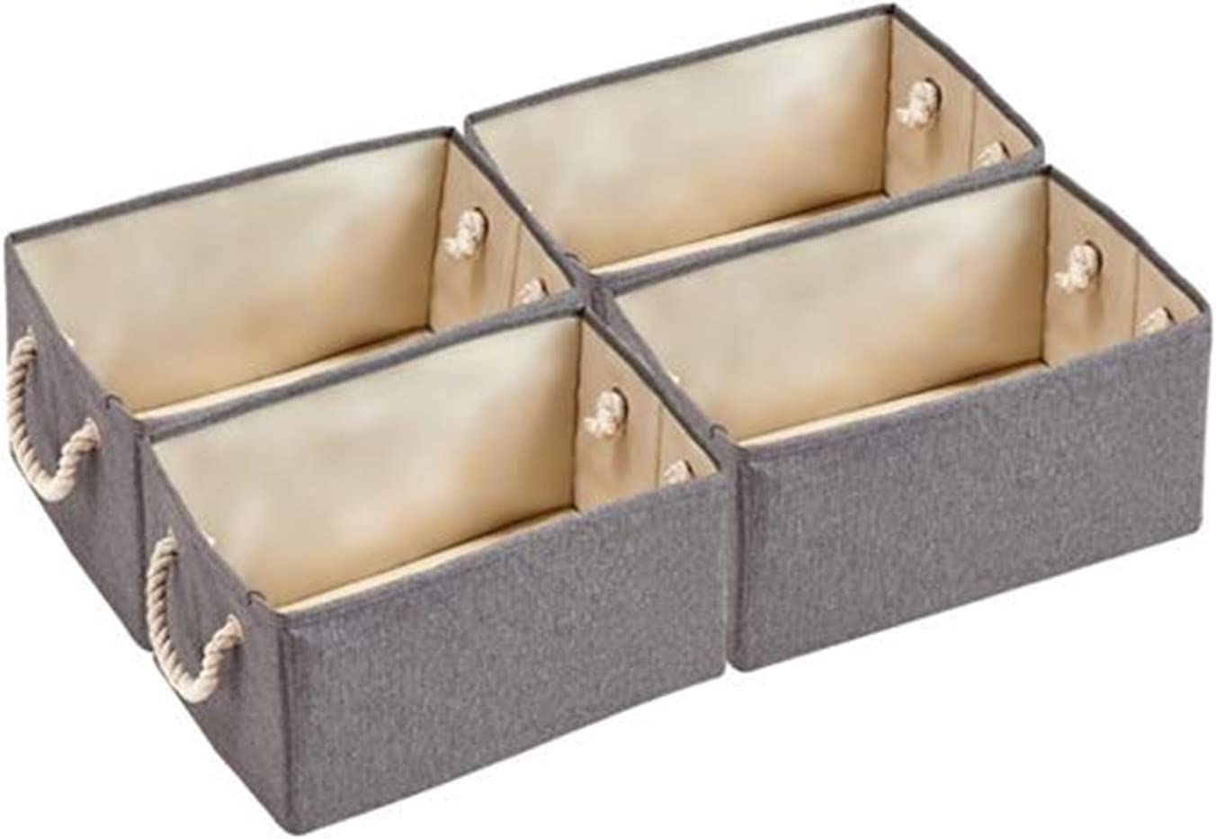Shamdon Home Collection Collapsible Fabric Storage Cubes Organizer Closet Storage Bins with Cotton Rope Handles, Decorative Storage Baskets, Rectangle,4-Pack,Gray