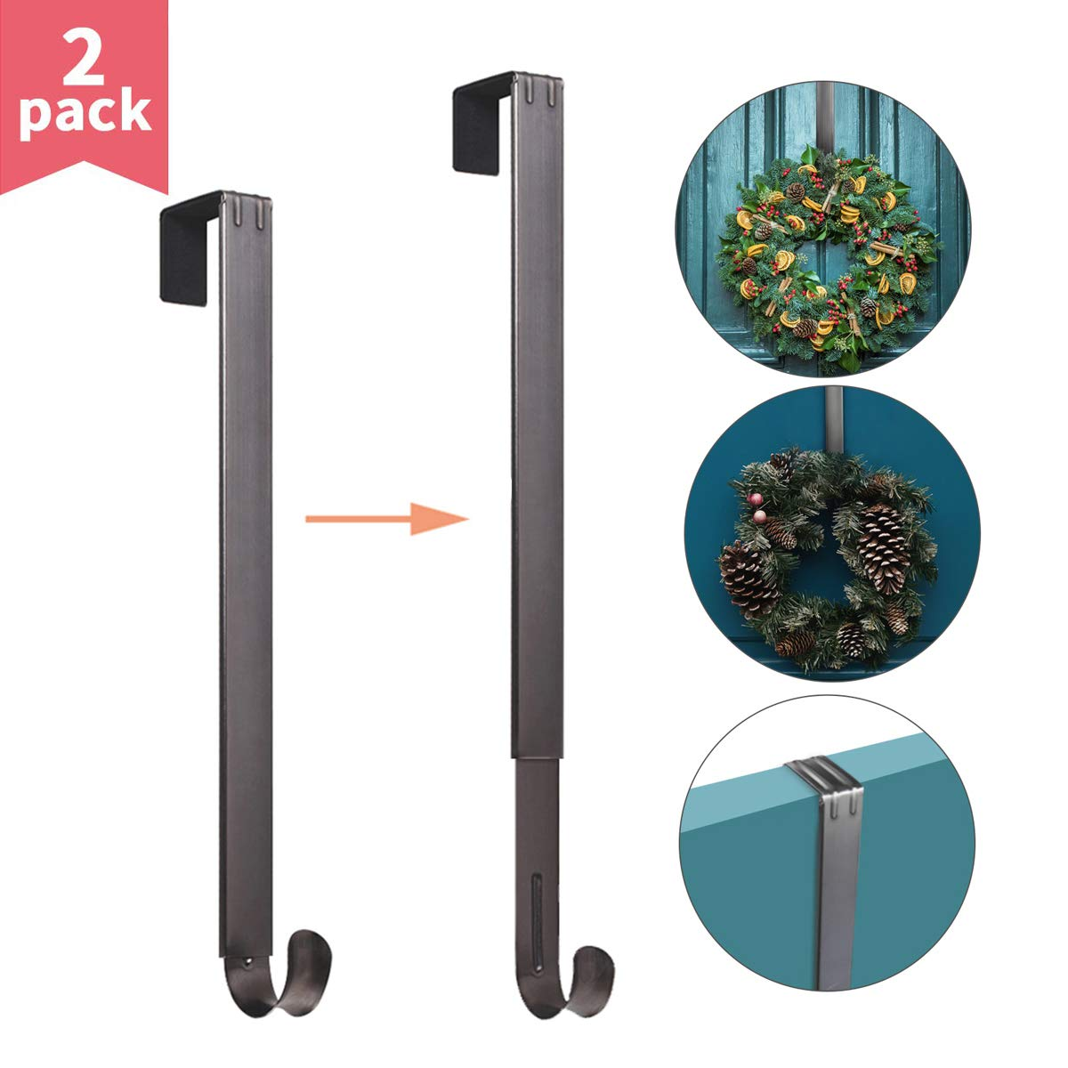 Myfolrena Adjustable Wreath Hanger from 15''-24'', Metal Wreath Hook for Front Door, 20lb(Nickle-2 Pack) by Myfolrena