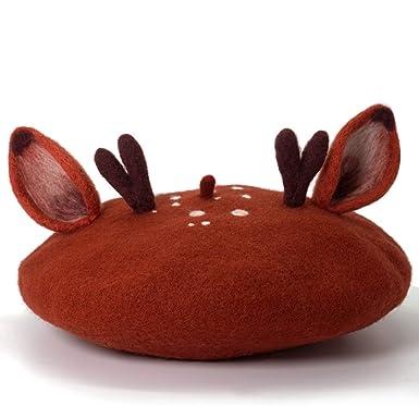 663e1adae2ecf Amazon.com  Handmade Deer Ears and Antlers Beret Vintage Artist Hat Kawaii  Cute Women Cap (Brown)  Clothing