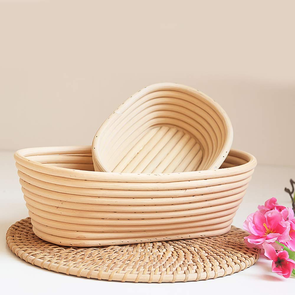 EudoUS 4Pcs Oval Banneton Brotform Bread Baskets with Linen Liners hold 600g Dough Proofing Proving Natural Rattan by EudoUS (Image #5)