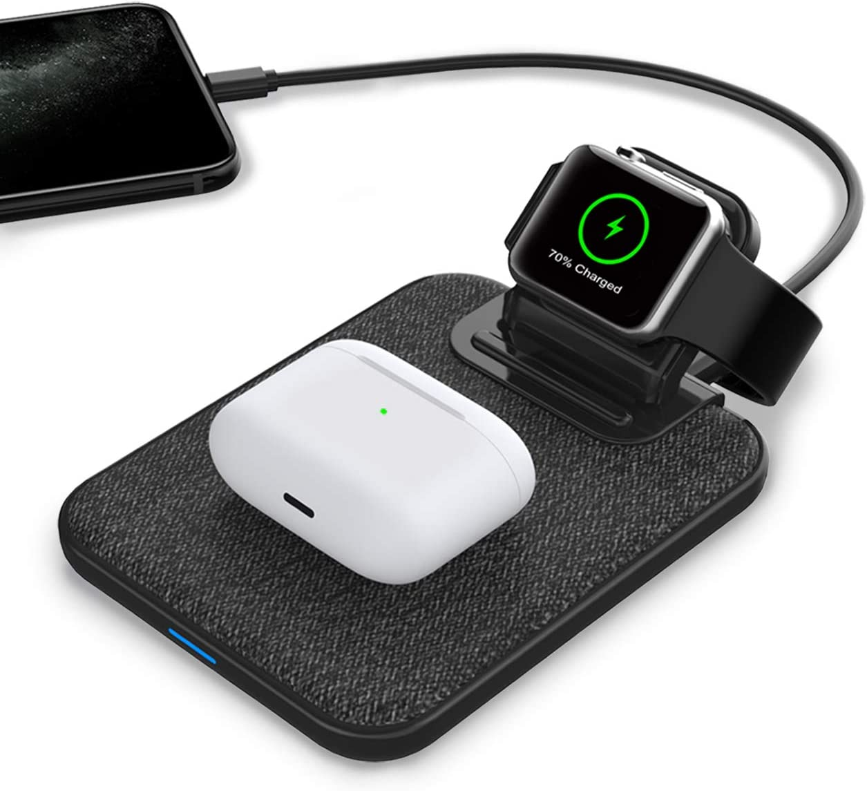 Mangotek Charger Station for Apple Product, 3 in 1 Wireless Charging Station Watch Charger Qi Fast Dock with USB Port Compatible with iWatch, AirPods and iPhone, Charge Safe with MFi Certified