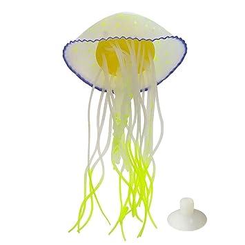 Bargain House Glowing Artificial Jellyfish Aquarium Lucency Jelly Fish Tank Decoration Ornament Creative Aquarium Accessories (Fuchsia