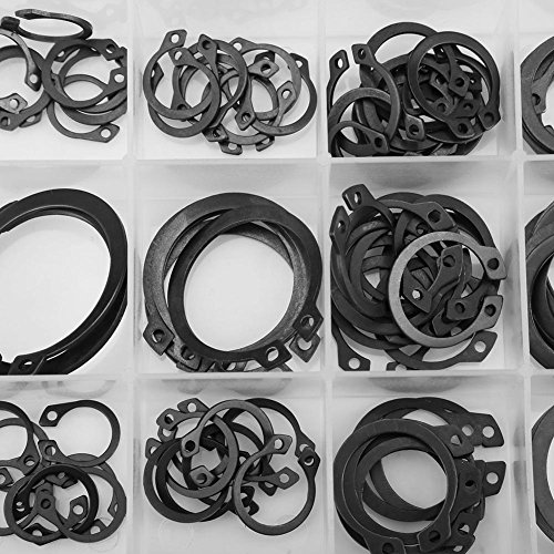 Akozon 100pcs Snap Retaining Ring Circlip Assortment Set 11mm 21mm 6 Sizes with Box