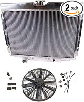 3 Row Radiator 25 x 20 x 2 /& 10 Pull//Push 12v Silm Electric Radiator Motor Cooling Fan for 67-70 Ford Mustang 390 428 429 V8 at//MT