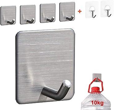 Max 10KG Toallero Perchero Pared de Cocina Ba/ño Autoadhesivo Perchas pared adhesivos pared Ganchos Adhesivos Fuertes ganchos de acero inoxidable Ganchos Adhesivos