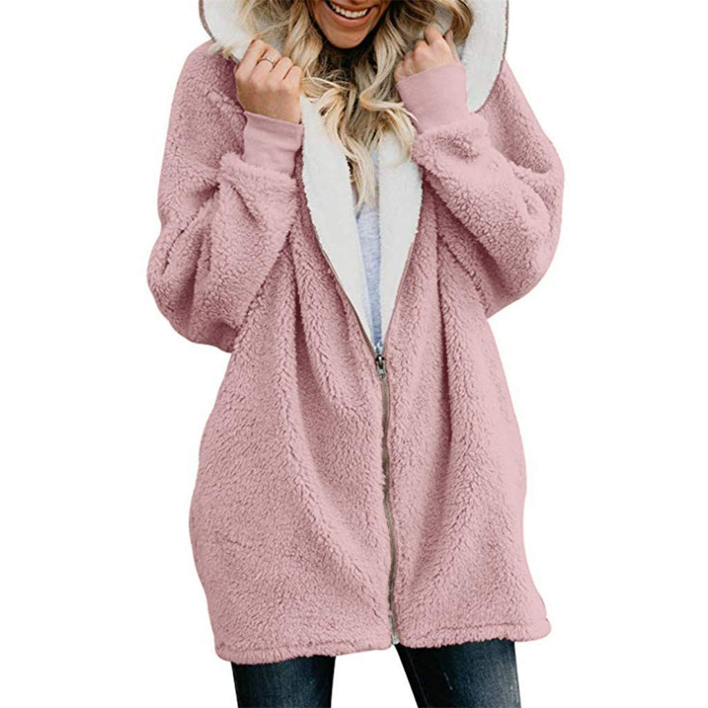 FengGa Womens Solid Oversized Zip Down Hooded Fluffy Coat Cardigans Outwear with Pocket