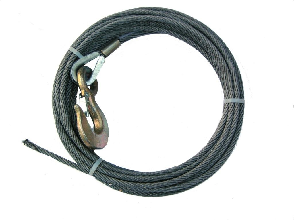 BA Products 4-716SC75 Winch Cable, 7/16'' x 75' Steel Core with 3 Ton Hook