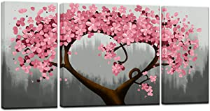 sechars - Canvas Art Prints 3 Piece Pink Flower Paintings for Wall Modern Home Living Room Decoration Floral Pictures Wall Decor Framed Giclee Artwork Ready to Hang (Pink)