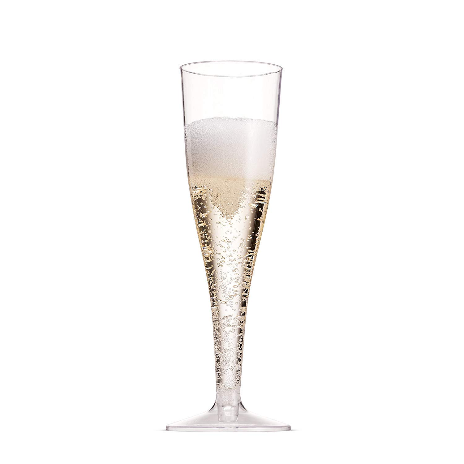 Plastic Champagne Glasses, 50-Pack Disposable or Reusable Large Champagne Flutes, 7 oz
