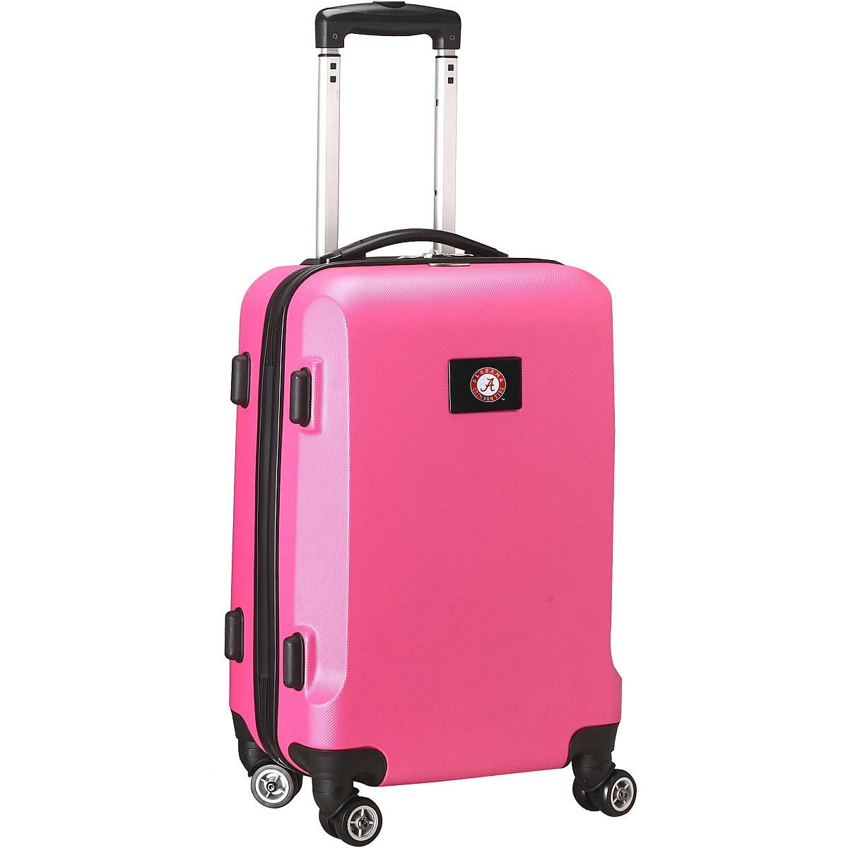 Denco NCAA Alabama Crimson Tide Carry-On Hardcase Luggage Spinner, Pink