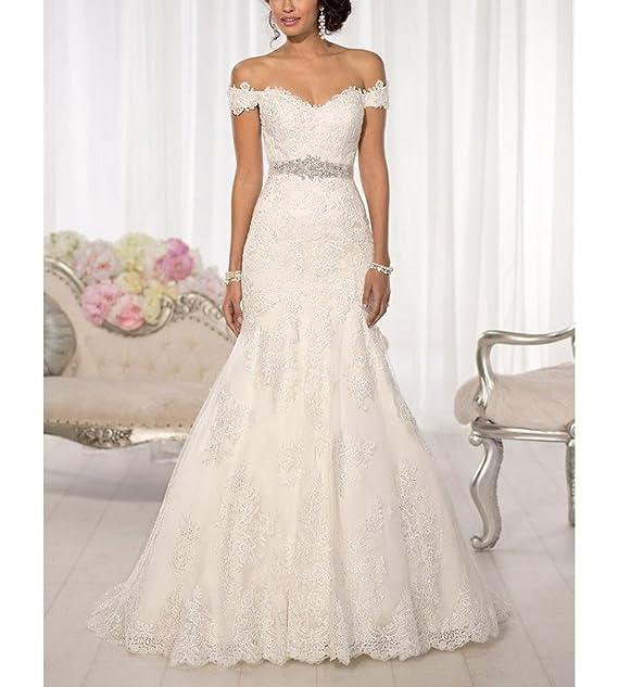 Womens off-Shoulder sirena vestidos de boda tren de barrido de novia vestido de novia