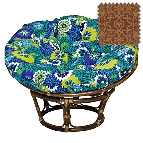 42-Inch Bali Rattan Papasan Chair with Cushion - Print Outdoor Fabric, Vanya Paprika - DCG Stores Exclusive