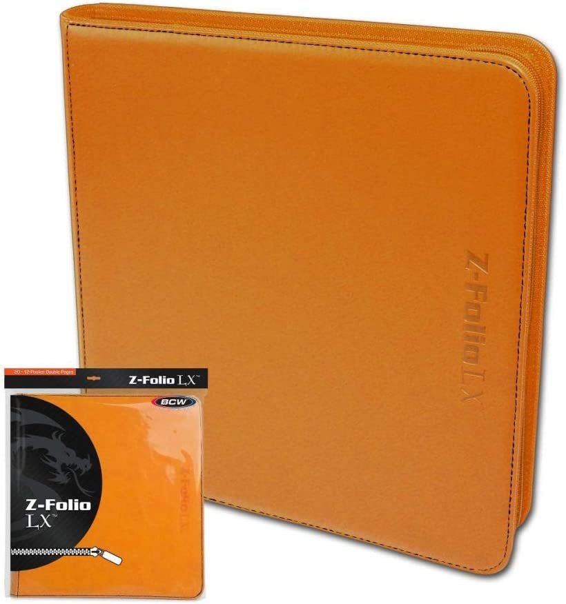 BCW Orange Gaming Card Z-Folio Zippered LX Leatherette Album with 12 Pocket Pages