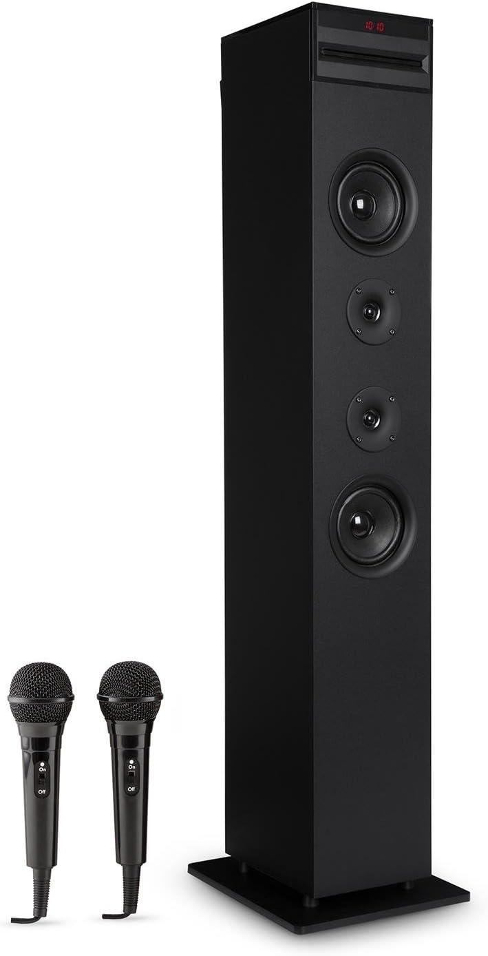 auna Karaboom - Equipo de Karaoke, Torre de Altavoces, Reproductor de CD Incorporado, Bass Reflex, Bluetooth, 2 Micrófonos, USB, MP3, Entrada AUX, Ranura SD, Potencia 65 W, Estable, Negro