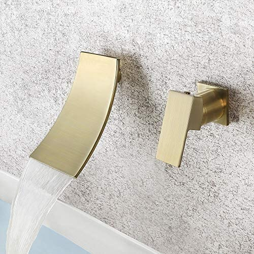 KUNMAI Waterfall Wall Mounted Bathroom Sink Faucet Single Lever Handle Rough in Valve Included Brushed Gold