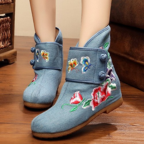 Embroidered Internal Women increase Short Boots Shoes Cowboy awCxqFHC